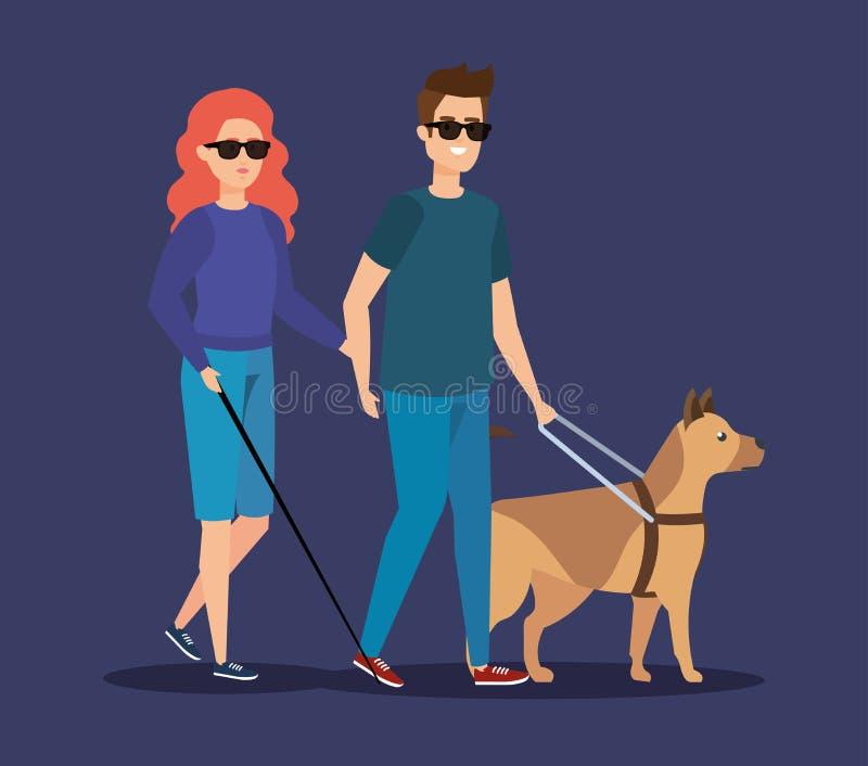 Niepełnosprawna kobiety i mężczyzny stora z okularami przeciwsłonecznymi royalty ilustracja