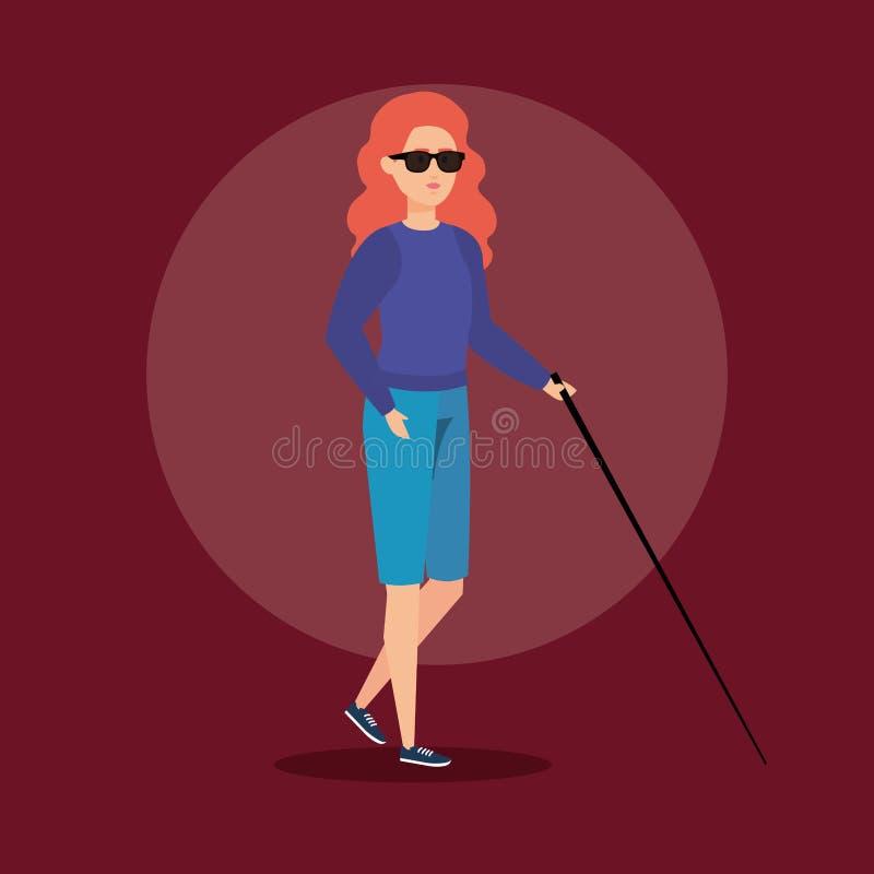 Niepełnosprawna kobiety stora z kijem i okularami przeciwsłonecznymi ilustracja wektor