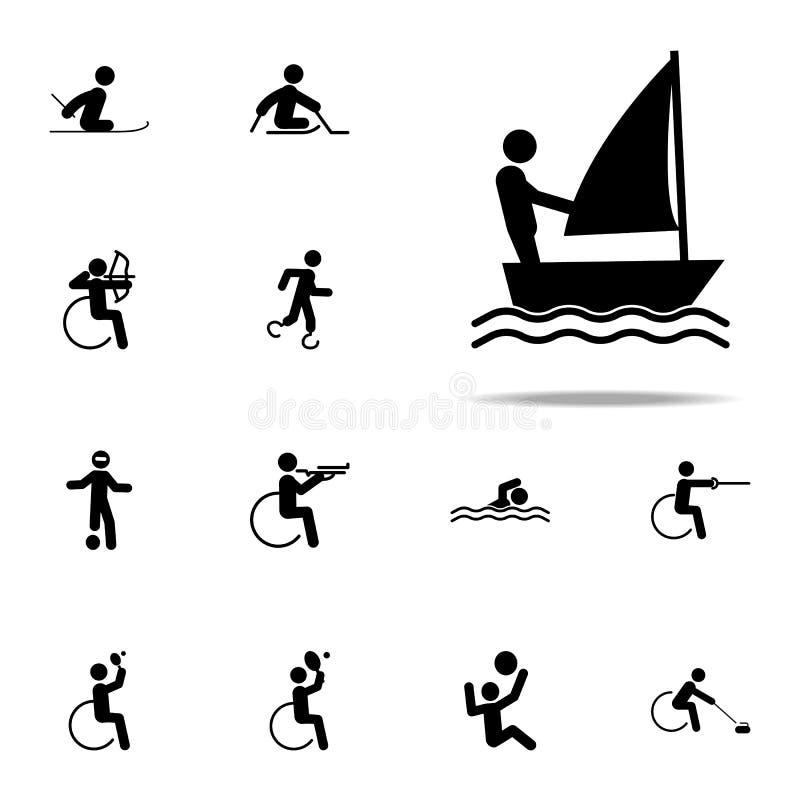 niepełnosprawna sporta żagla ikona paralympic ikony ogólnoludzki ustawiający dla sieci i wiszącej ozdoby royalty ilustracja