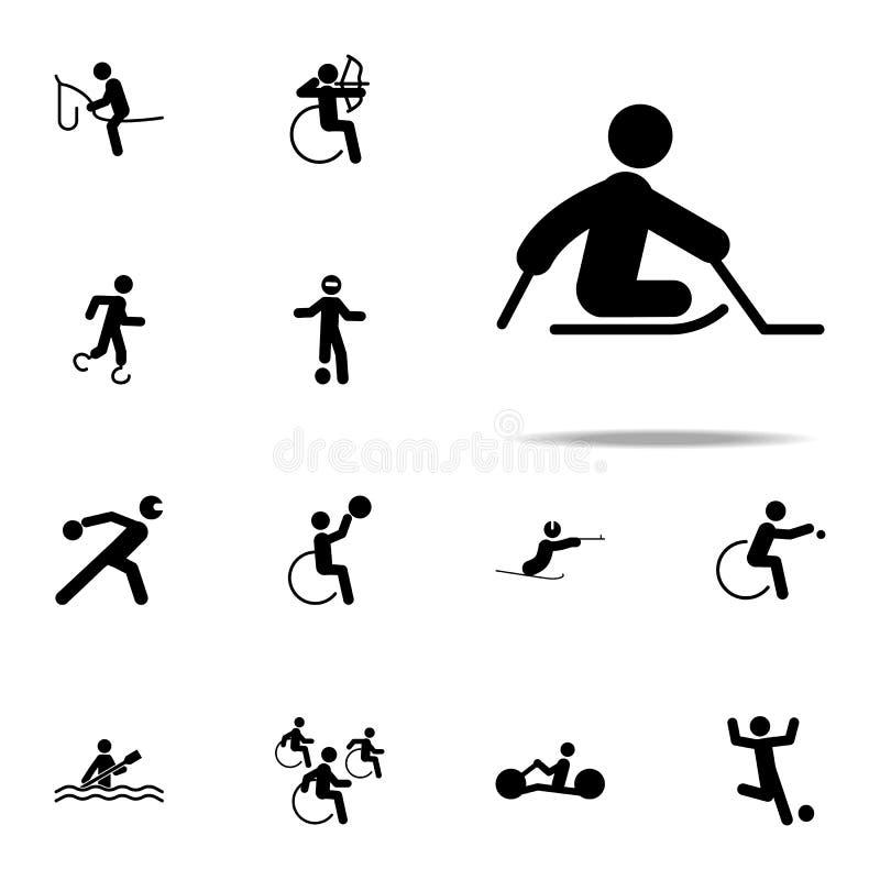 niepełnosprawna sporta lodu saneczki hokeja ikona paralympic ikony ogólnoludzki ustawiający dla sieci i wiszącej ozdoby royalty ilustracja