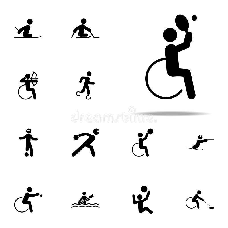 niepełnosprawna sporta tenisa ikona paralympic ikony ogólnoludzki ustawiający dla sieci i wiszącej ozdoby royalty ilustracja