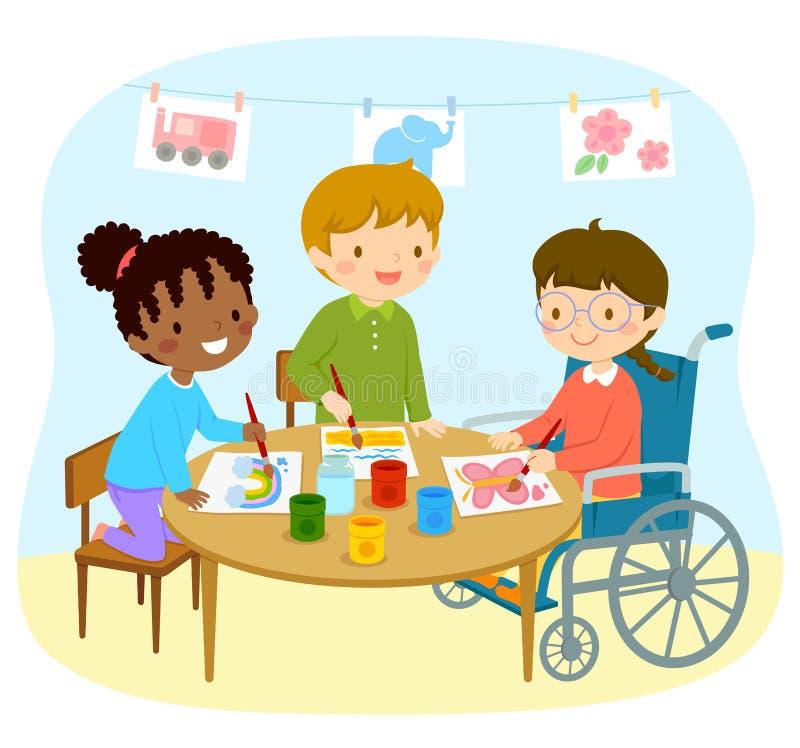 Niepełnosprawny dziewczyna rysunek z przyjaciółmi ilustracji