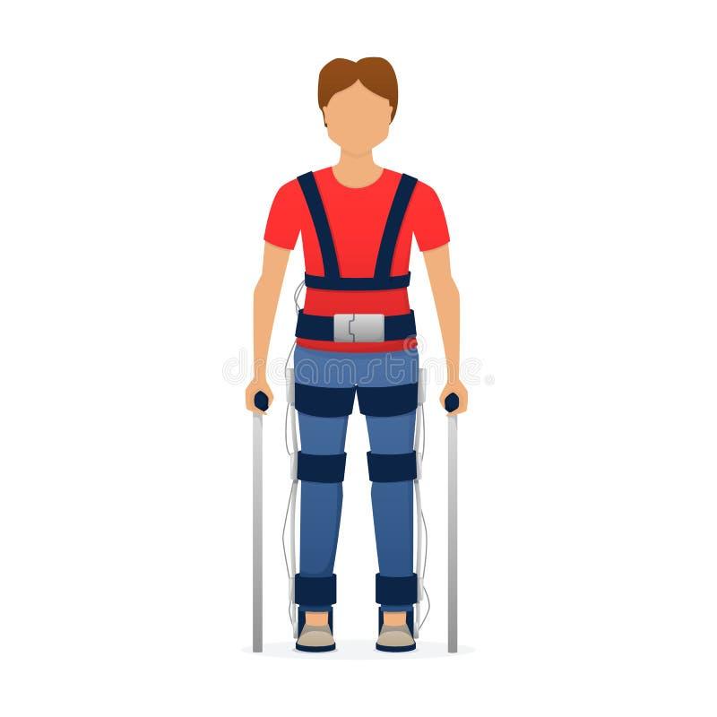 Niepełnosprawny mężczyzna jest ubranym medycznego exoskeleton Medycyna przyszłość, bioniki technologia wektor ilustracji