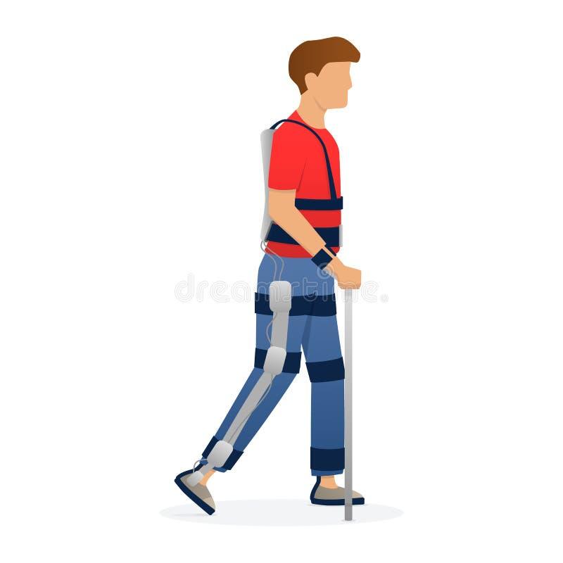 Niepełnosprawny mężczyzny odprowadzenie z medycznym exoskeleton Medycyna przyszłość, bioniki technologia wektor royalty ilustracja