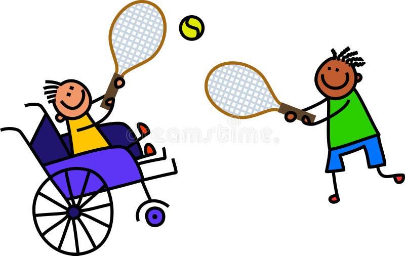 Niepełnosprawna chłopiec Bawić się tenisa royalty ilustracja