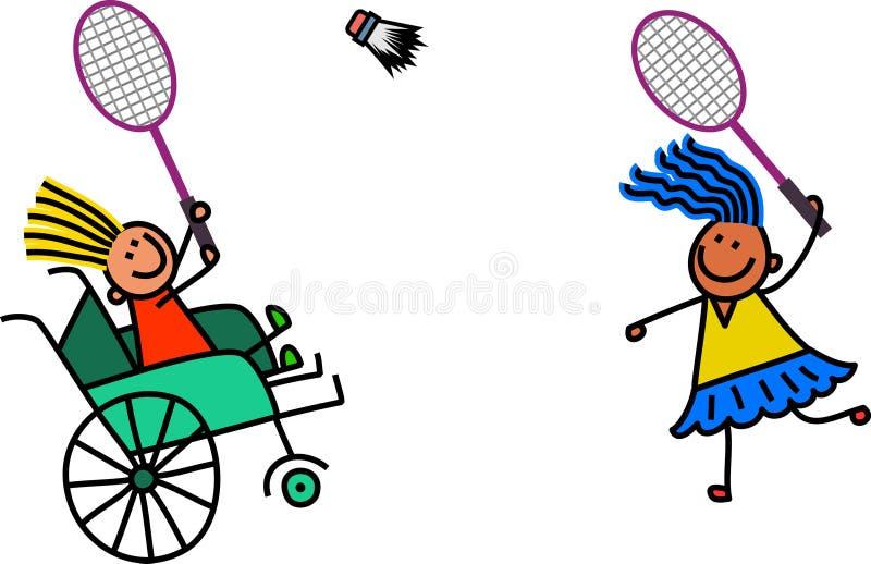 Niepełnosprawna dziewczyna Bawić się Badminton ilustracji