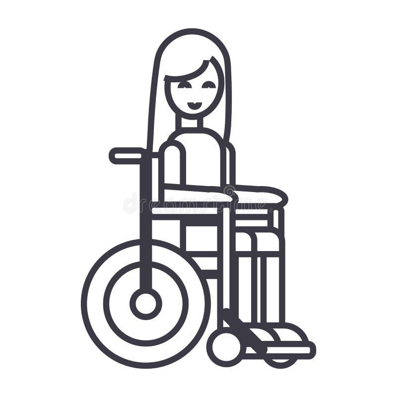 Niepełnosprawna dziewczyna w wózka inwalidzkiego wektoru linii ikonie, znak, ilustracja na tle, editable uderzenia royalty ilustracja