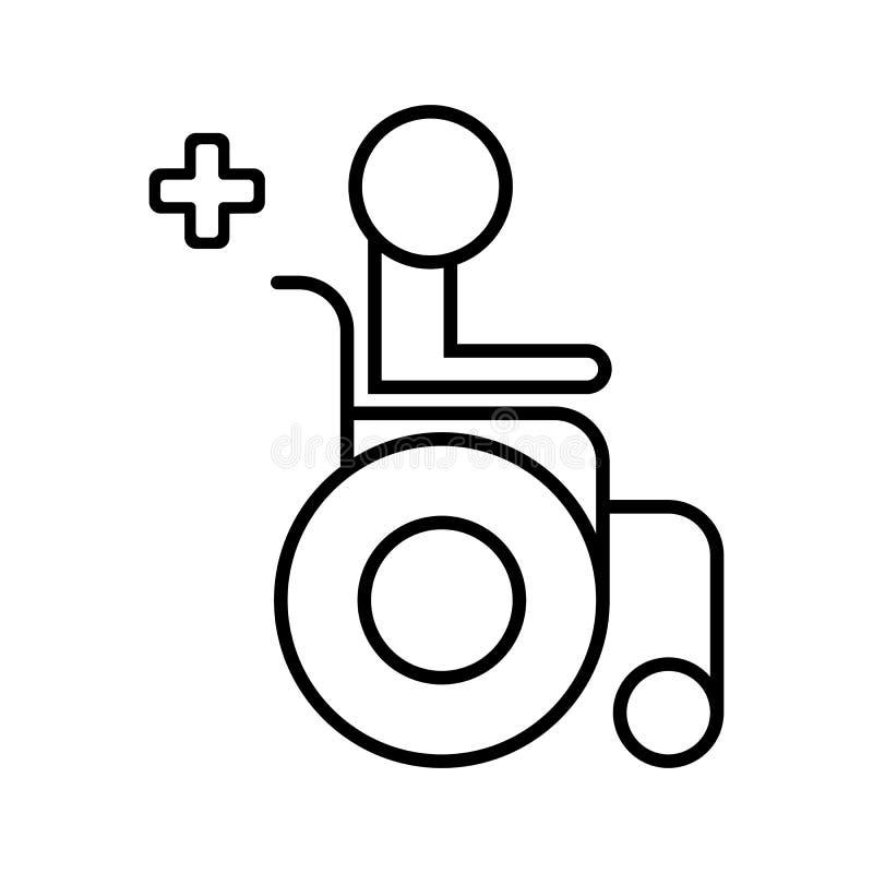 Niepełnosprawna for ikona Wózek inwalidzki Medyczna ikona Wózka inwalidzkiego wektoru ilustracja pojedynczy białe tło ilustracja wektor