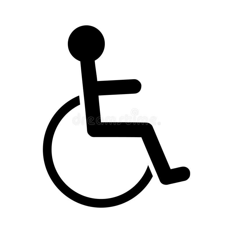Niepełnosprawna osoba, for ikona Wózka inwalidzkiego symbol, odosobniona wektorowa ilustracja royalty ilustracja