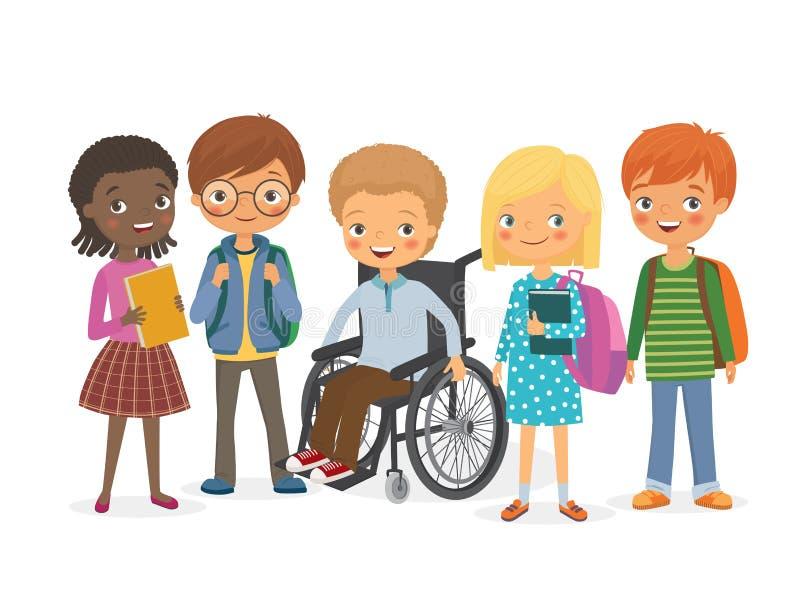 Niepełnosprawne dziecko z jego międzynarodowymi przyjaciółmi ilustracja wektor