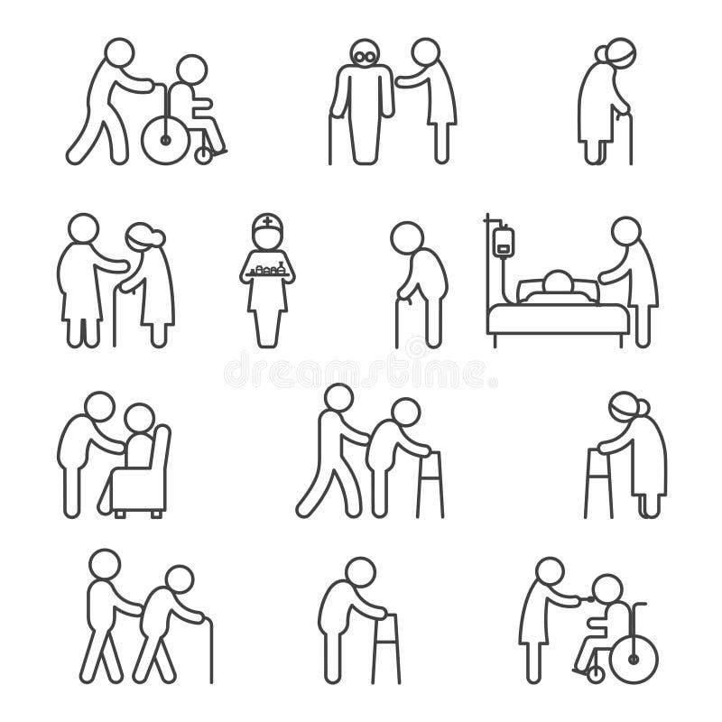 Niepełnosprawne pielęgnaci i opieki zdrowotnej ikony royalty ilustracja
