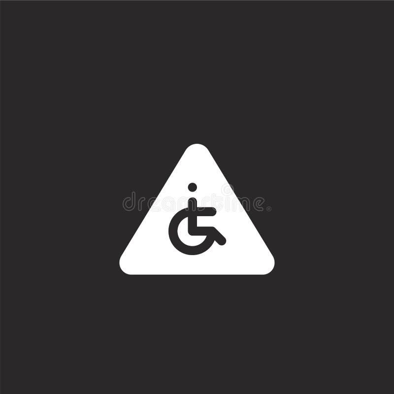 niepełnosprawni ikona Wypełniający niepełnosprawni ikony dla strona internetowa projekta i wiszącej ozdoby, app rozwój niepełnosp ilustracja wektor