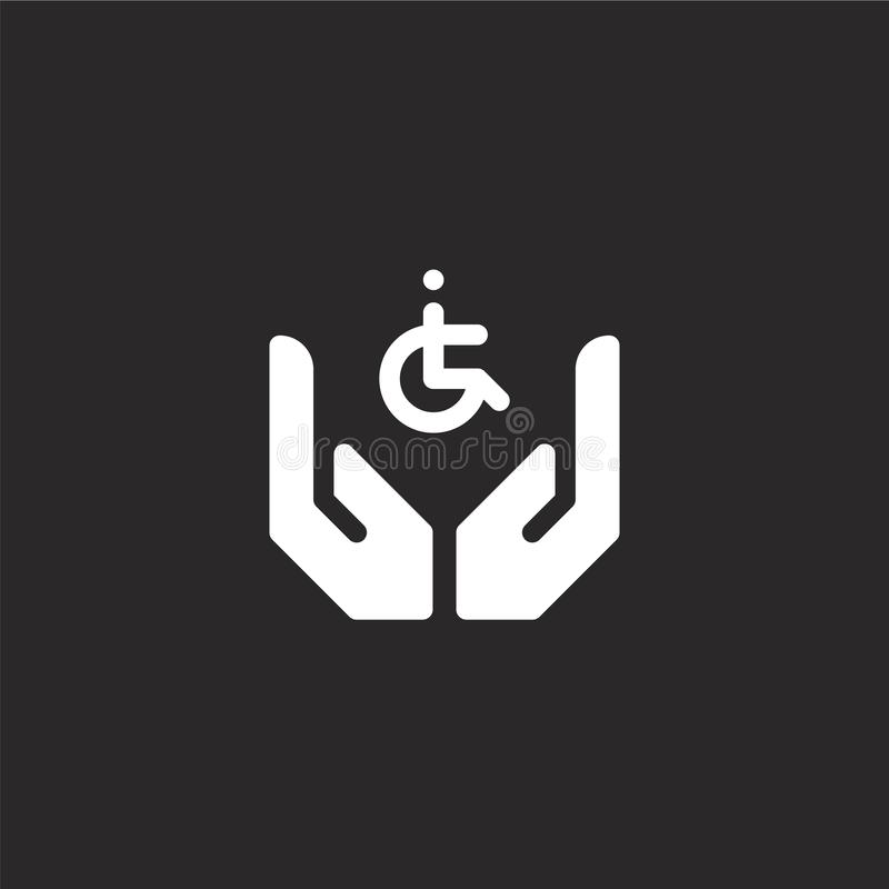 niepełnosprawni ikona Wypełniający niepełnosprawni ikony dla strona internetowa projekta i wiszącej ozdoby, app rozwój niepełnosp royalty ilustracja