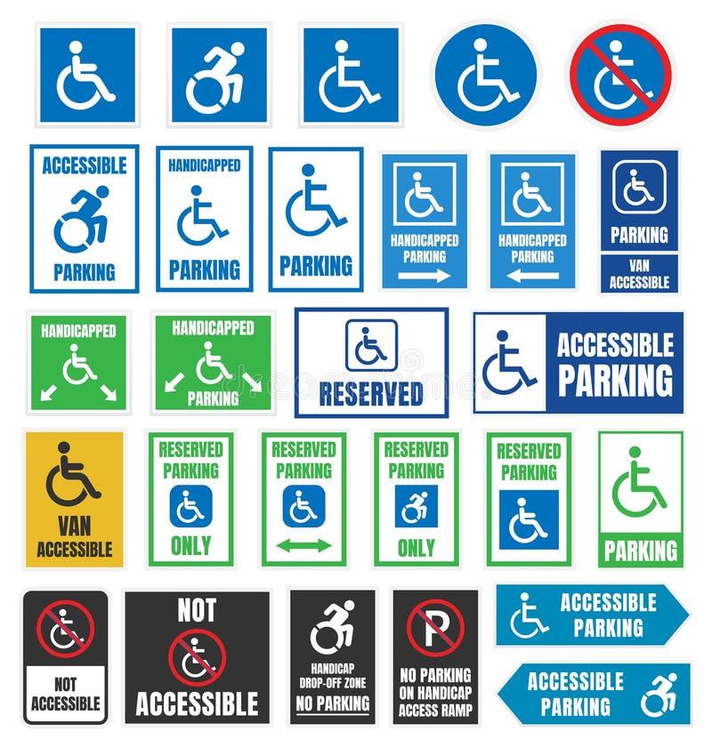 Niepełnosprawni parking znaki, niepełnosprawni parkować ilustracji