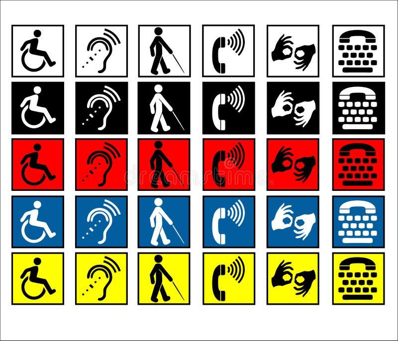 niepełnosprawni pomoc znaki ilustracja wektor