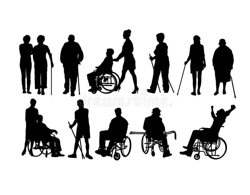 Niepełnosprawni sylwetka royalty ilustracja