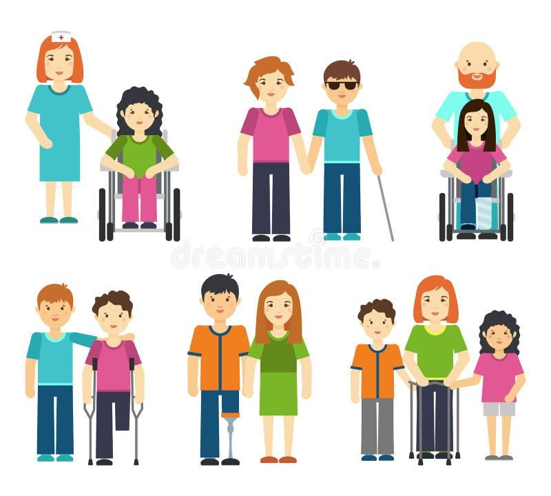 Niepełnosprawni z pomagać wektorowej ilustraci Wózek inwalidzki cierpliwa pielęgniarka, niepełnosprawna osoba royalty ilustracja