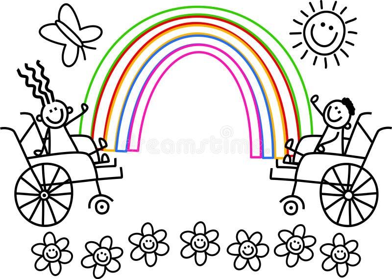 Niepełnosprawny Barwi Ja dzieciaki ilustracji