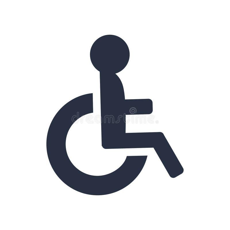 Niepełnosprawny ikona wektor, koła krzesła symbol Niepełnosprawny ikona wektor Prosty płaski symbol Doskonalić Czarna piktogram i royalty ilustracja