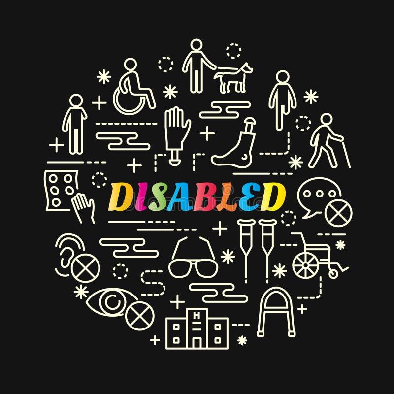 Niepełnosprawny kolorowy gradient z kreskowymi ikonami ustawiać royalty ilustracja