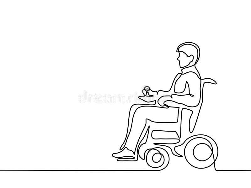 Niepełnosprawny mężczyzna na elektrycznym wózku inwalidzkim royalty ilustracja