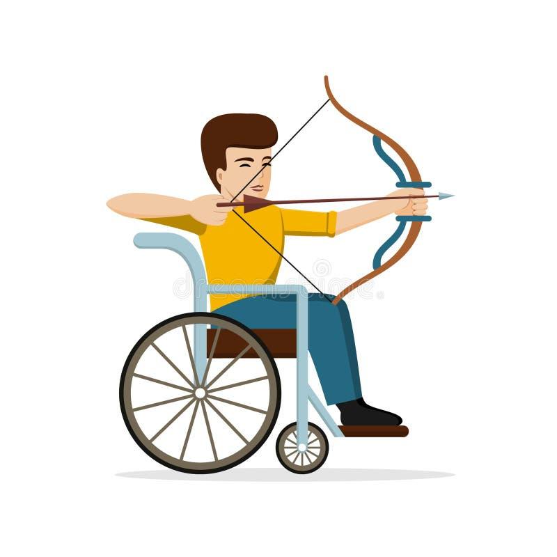 Niepełnosprawny mężczyzna w wózku inwalidzkim zgina s łęk Płaski projekt royalty ilustracja