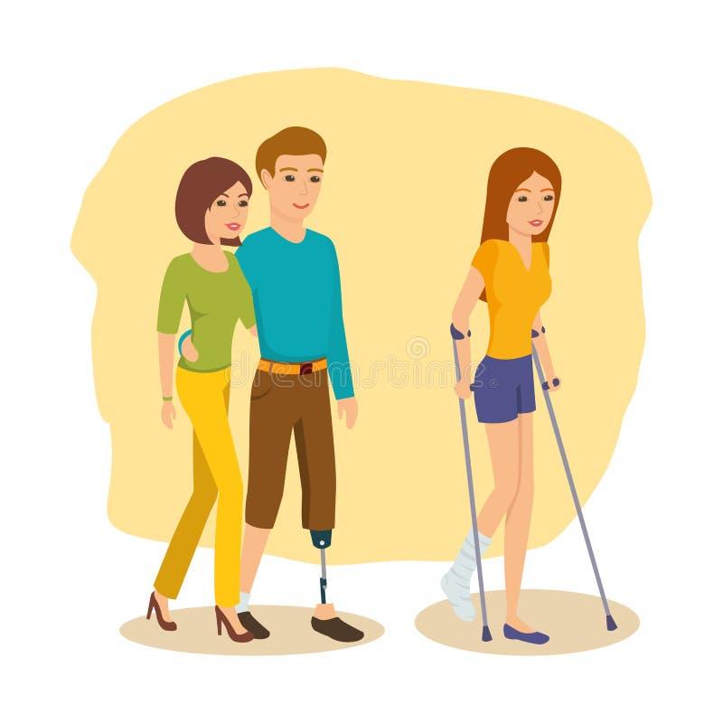 Niepełnosprawny mężczyzna wokoło obok dziewczyny, dziewczyna iść na szczudłach royalty ilustracja