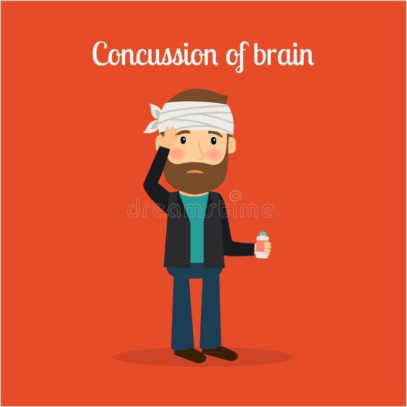 Niepełnosprawny mężczyzna z wstrząsem mózgu mózg ilustracja wektor