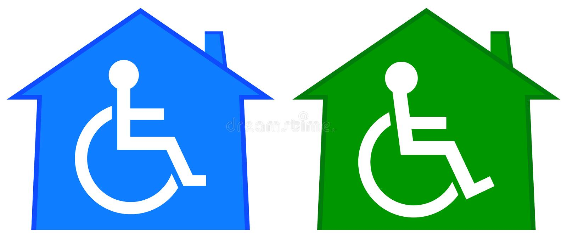 Niepełnosprawny opieka zdrowotna dom royalty ilustracja