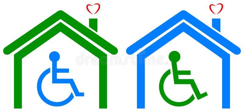 Niepełnosprawny opieka zdrowotna dom ilustracja wektor