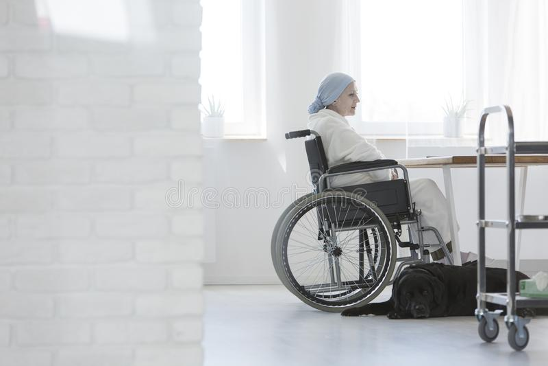 Niepełnosprawny pacjent z nowotworem w szpitalu zdjęcia royalty free