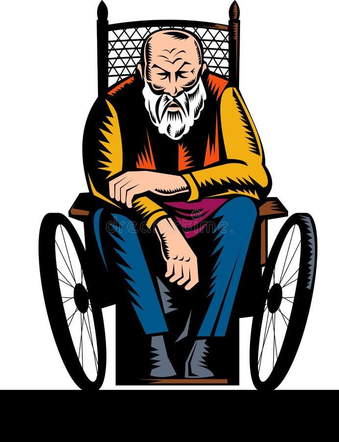niepełnosprawny starszej osoby wózek inwalidzki ilustracji