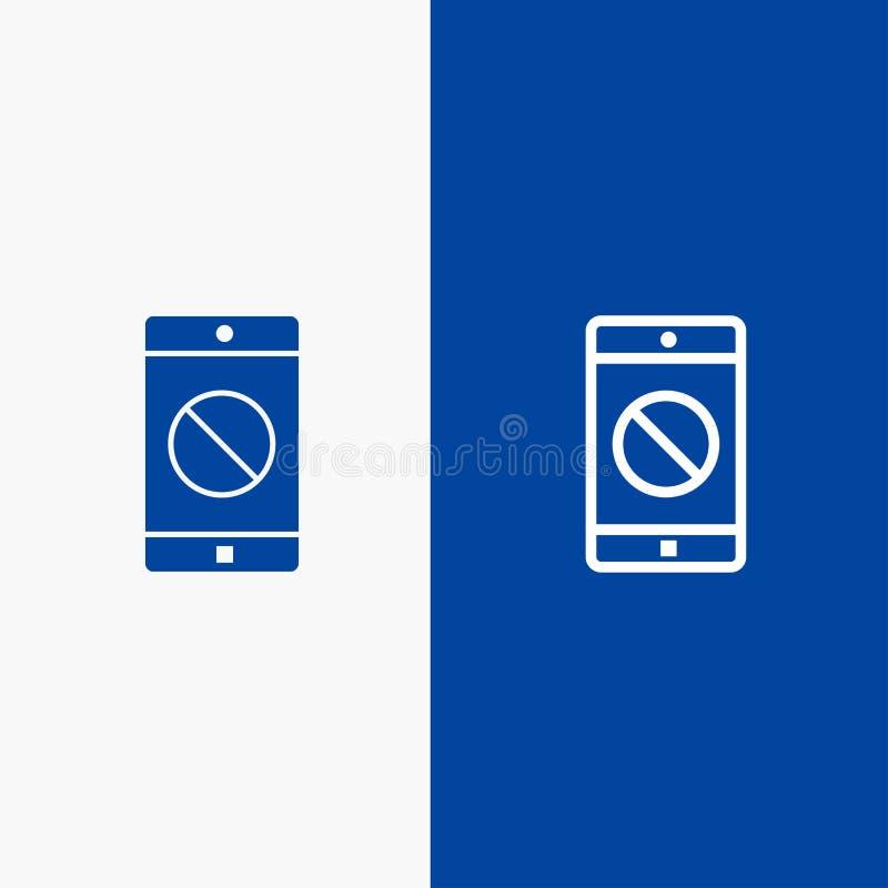 Niepełnosprawny zastosowanie, Niepełnosprawny Błękitnej ikony błękita Stały sztandar, ikony sztandaru glifu i linii wiszącej ozdo royalty ilustracja
