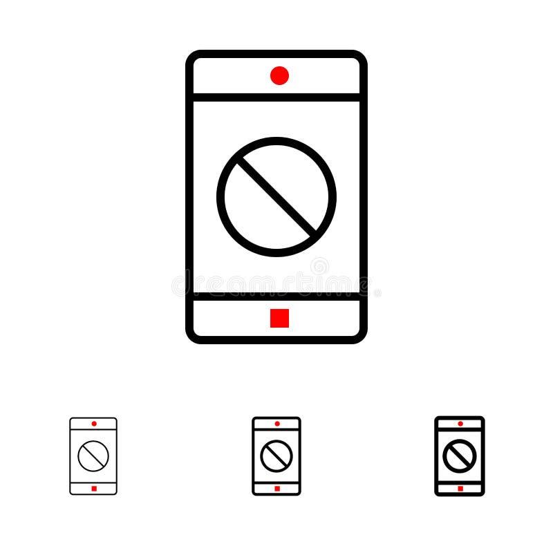 Niepełnosprawny zastosowanie, Niepełnosprawna wisząca ozdoba, Mobilny czerni linii ikony set, Śmiały i cienki ilustracja wektor