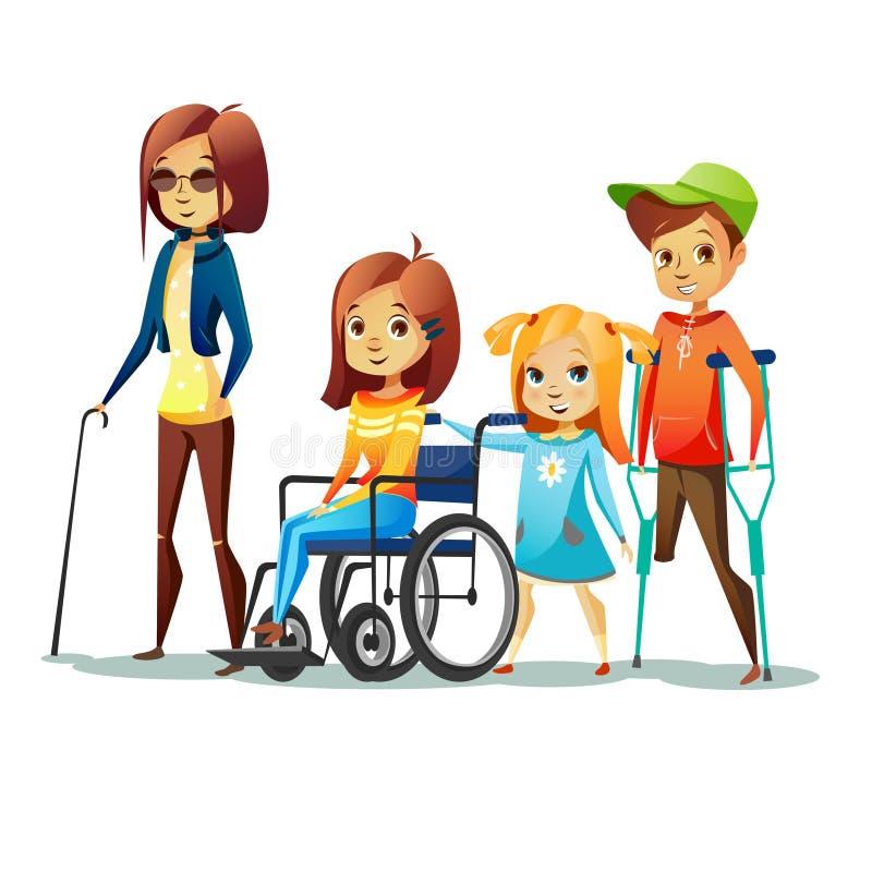 Niepełnosprawnych dzieci wektorowa ilustracja niepełnosprawna, niewidoma dziewczyna w i ilustracja wektor