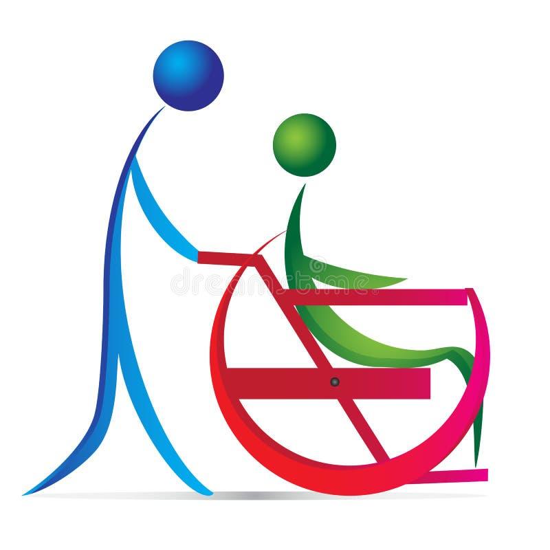Niepe?nosprawny opieka logo royalty ilustracja
