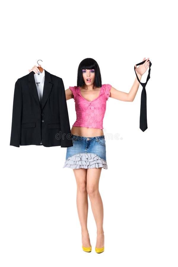 Dziewczyna wybiera odzieżowego zdjęcie royalty free