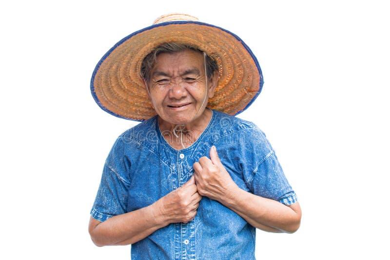 Niepokój kobiety stary Azjatycki rolnik czuł kierową obolałość na białym tle zdjęcia stock