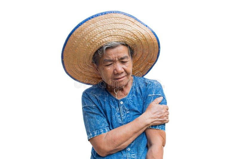 Niepokój starej Azjatyckiej kobiety ręki średniorolna obolałość na białym tle obraz royalty free