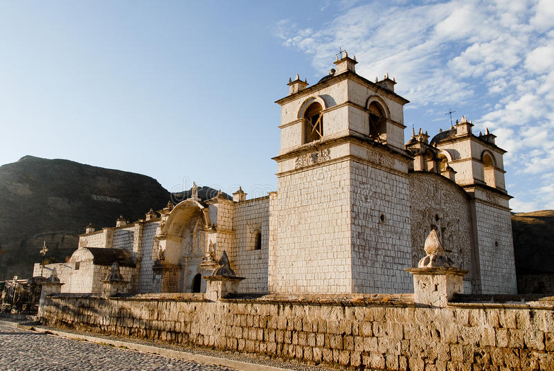 Niepokalanego poczęcia kościół - Yanque, Peru obrazy stock