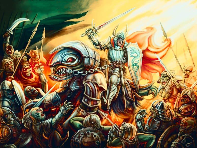 Niepokonany rycerz ochrania świat od gonów piekło royalty ilustracja
