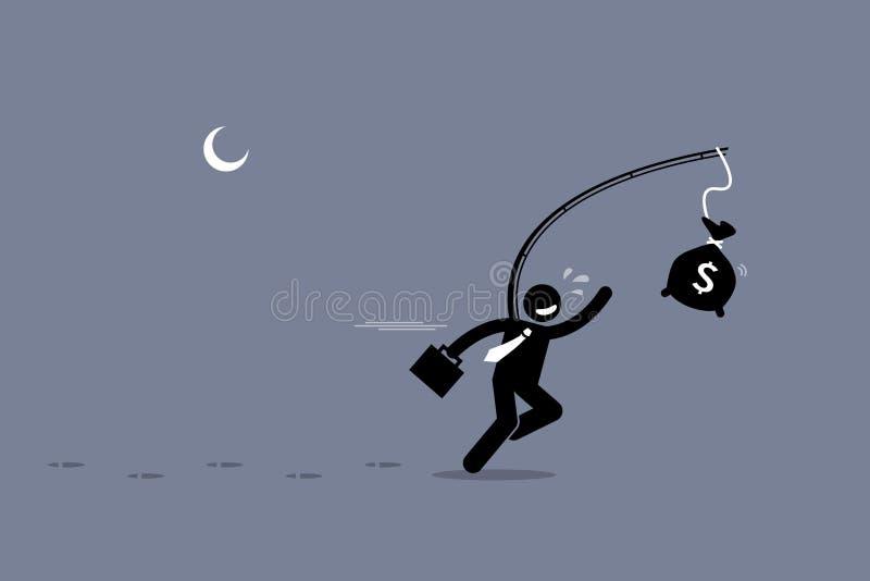 Niepomny mężczyzna goni torbę pieniądze ilustracja wektor