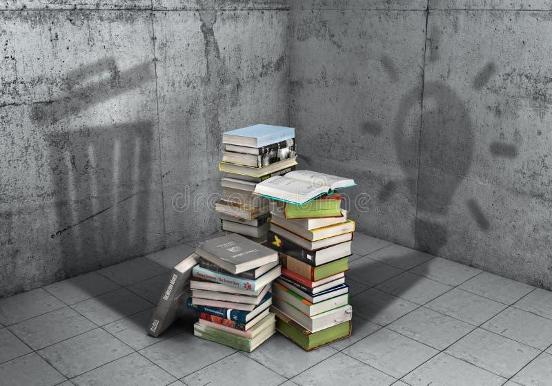 Niepotrzebna lub pożytecznie wiedza? Sterta książki obsada ocienia w formie żarówka i kształcie kubeł na śmieci 3D ja ilustracja wektor