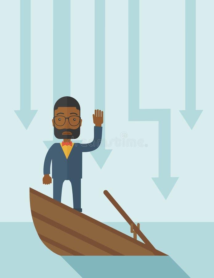 Niepowodzenie biznesmena czarna pozycja na słabnięciu royalty ilustracja