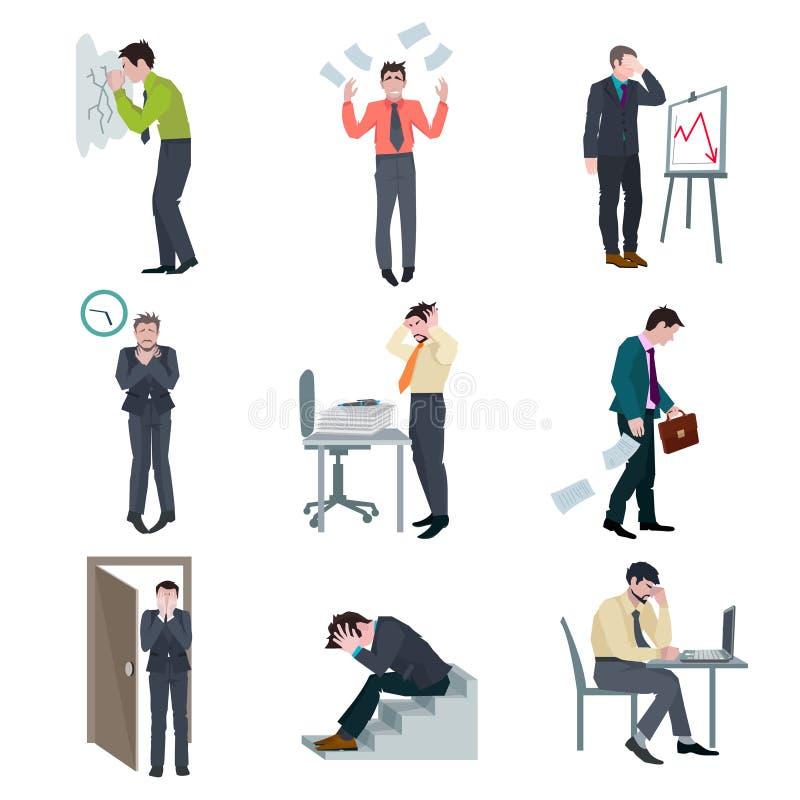 Niepowodzenie biznesu set ilustracji