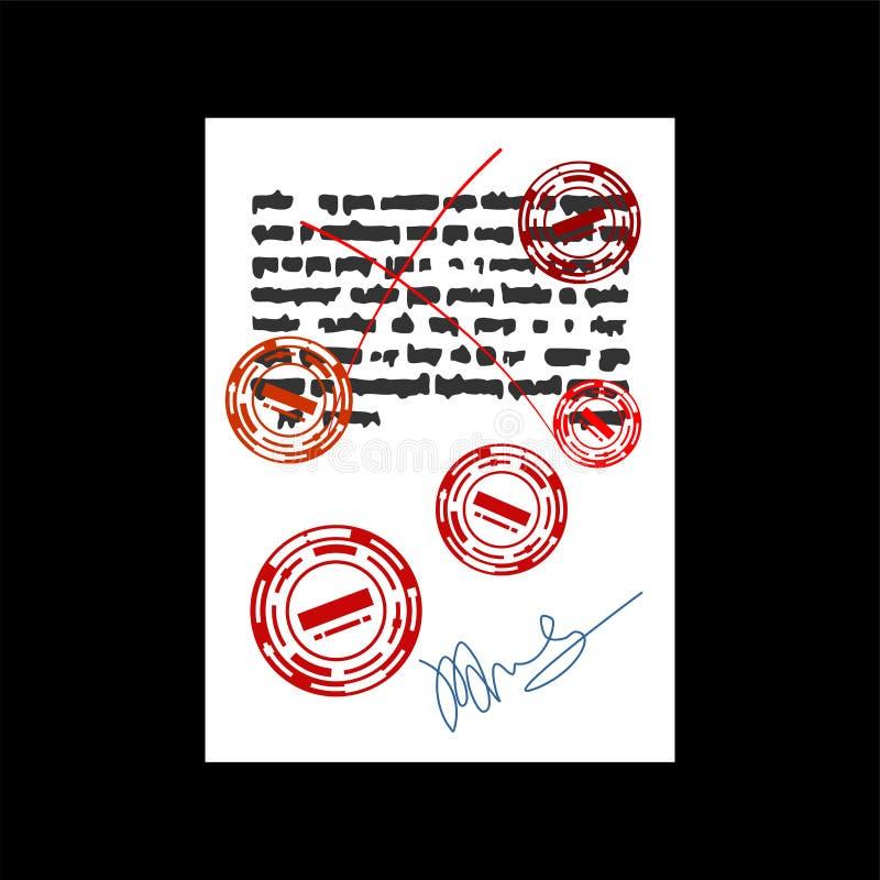 Niepowodzenie dokument z czerwień znaczkiem odrzucona kwadratowa gumowa foka Vec ilustracji