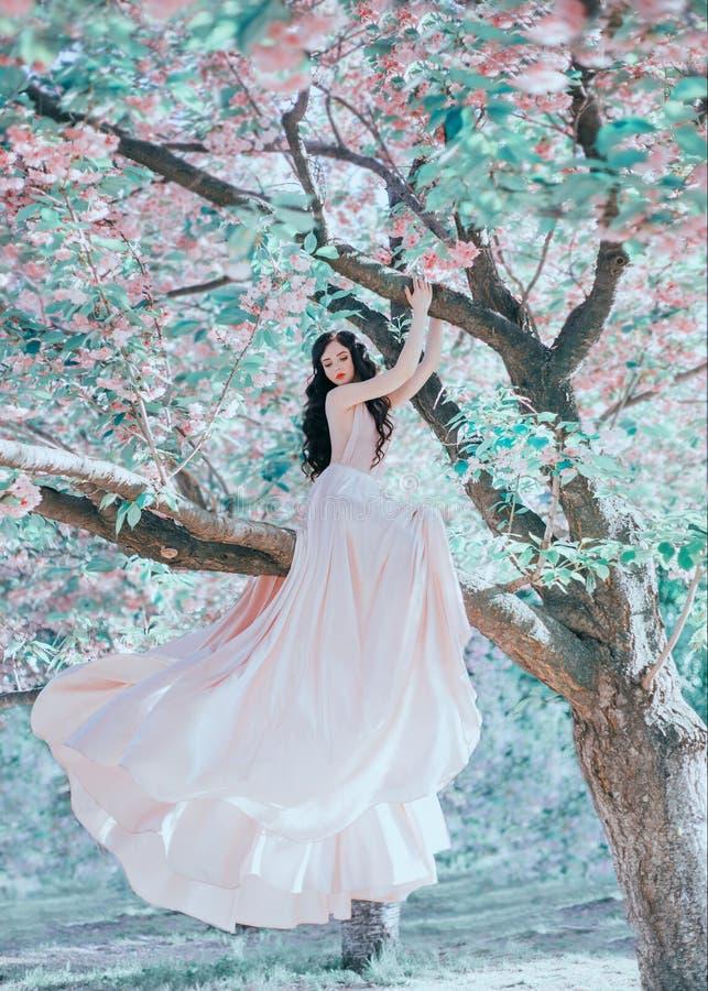 Nieprawdopodobny, delikatny elf menchii suknia w luksusowym, delikatnie ten falowanie w wiatrze Princess z długim kędzierzawym wł obraz royalty free