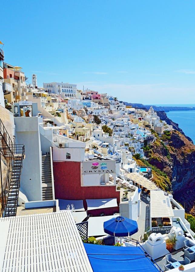 Nieprawdopodobny Fira Santorini wyspy widok Grecja obrazy royalty free