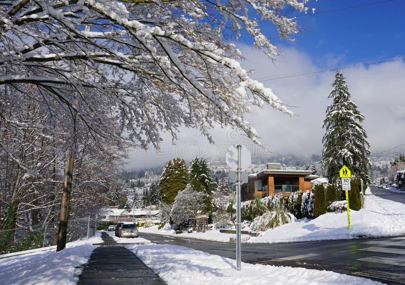 Nieprawdopodobny piękny widok Zachodni Vancouver neighbourhood z widowiskowymi śnieżnymi górami i niebieskiego nieba tłem fotografia royalty free
