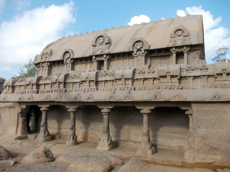 Nieprawdopodobny Rathas Mahabalipuram fotografia royalty free